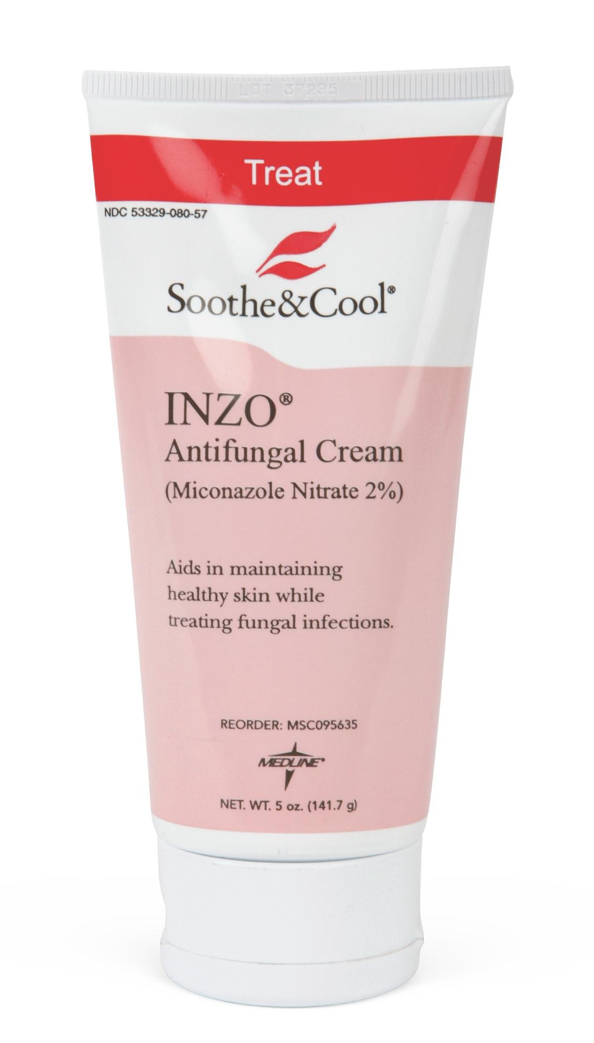 Medline Soothe and Cool Inzo Antifungal Cream, White, 12 Count