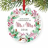 "Our First Christmas as Mr & Mrs Ornament 2016, Wreath 1st Married Christmas Ornament, First Married Christmas, 3"" Flat Circle Porcelain Ornament w Glossy Glaze, Red Ribbon & Free Gift Box 