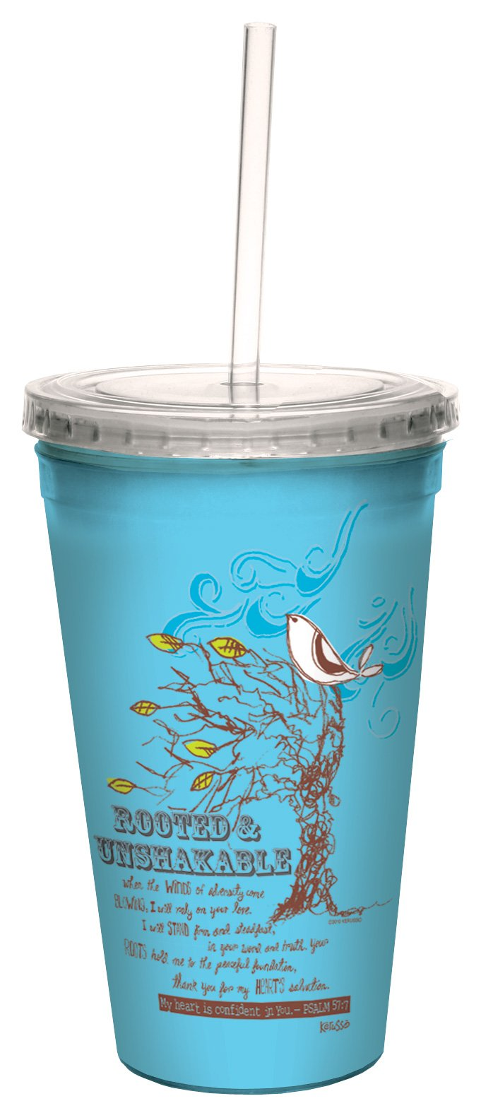 Tree-Free Greetings cc34330 Rooted: Psalm 57:7 Artful Traveler Double-Walled Cool Cup with Reusable Straw, 16-Ounce