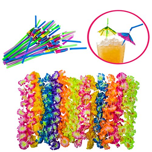 Luau Party Supplies - Hawaiian Party Favors - 36 Pc. - Lei Necklaces and Umbrella Straws by Tigerdoe by Tigerdoe