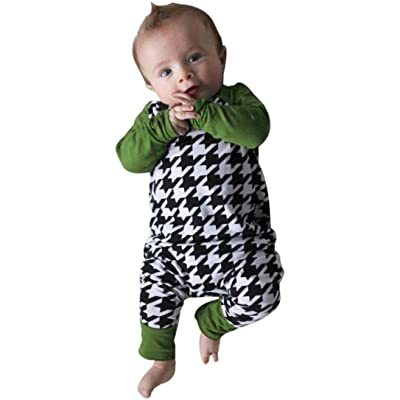 Coper Newborn Baby Boy Girl Houndstooth Romper Jumpsuit Outfits