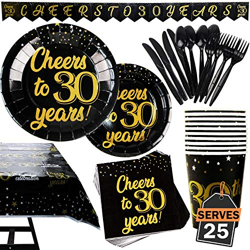 142 Piece 30th Birthday Party Supplies Set Including Banner, Plates, Cups, Napkins, Tablecloth, Spoon, Forks, and Knives, Serves 20 ()