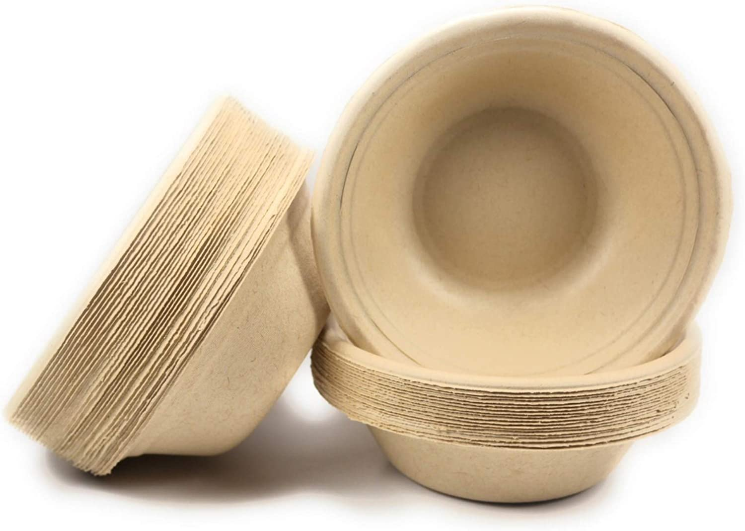 Nature Link Kosher Certified Made in USA (50) Pack 100% Compostable 12 oz Paper Bowls Heavy Duty Eco Friendly Made of Sugar Cane Fibers Brown Biodegradable
