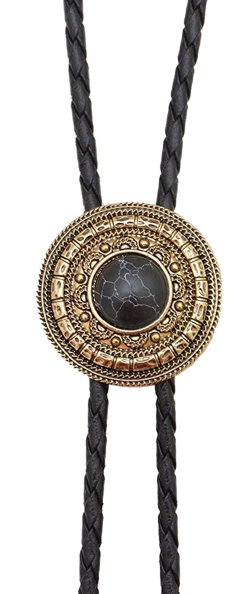 Bolo Tie Antique Gold with Black Stone