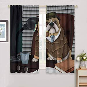 """Qenuan Waterproof Window Curtain English Bulldog Traditional English Detective Dog with a Pipe and Hat Sherlock Holmes Image Multicolor,for Living,Dining,Bedroom 62""""x72"""""""