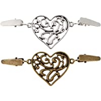 Baoblaze Pack of 2 Vintage Heart Shape Cardigan Sweater Clip Cloak Blouse Shirts Collar Clasp Fastener Brooch Pin Button