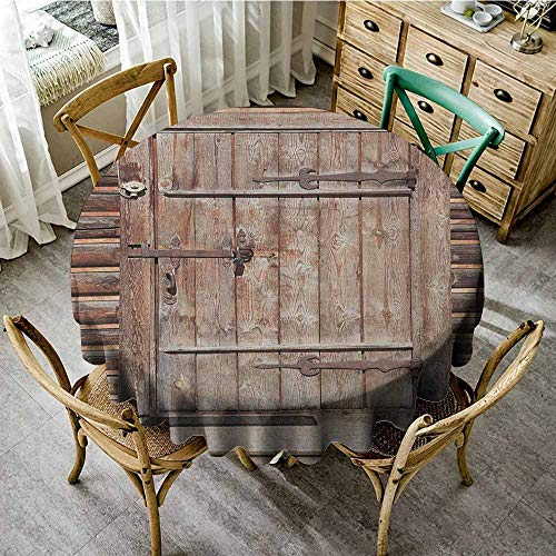 "The pattern round table cloth 67""Inch Round Rustic,Timber Rustic Door in Wall of An Old Log House Ancient Abandoned Building Entrance Gate Brown Suitable for Party,outdoors,Farmhouse,coffee shop,resta"