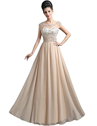 27e491ad950c0 Clearbridal Womens Sheer Neck Formal Prom Evening Dress Chiffon Short  Sleeve Bridesmaid Gown with Applique SD294