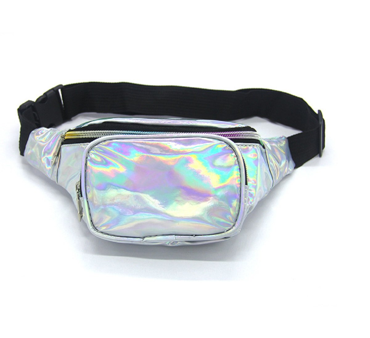 Gogoxm Womens Fanny Pack Waist Bag Water Resistant Chest Bags Holographic Waist Pack Glitter for Running Rave Festival Party Silver