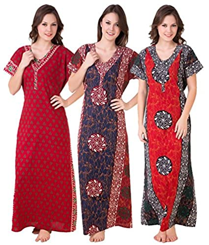 c7daa41ada Image Unavailable. Image not available for. Colour  Masha Women s Cotton  Combo Of 3 Nighty ...