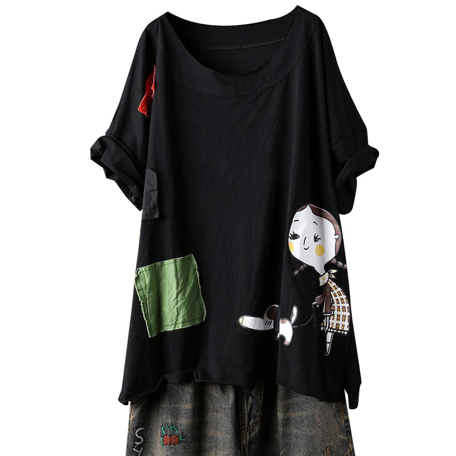 Duiyt Women Plus Size Harajuku Kawaii Print Short Sleeve Solid Color Splice O Neck Tops Oversized Top Gold L United States