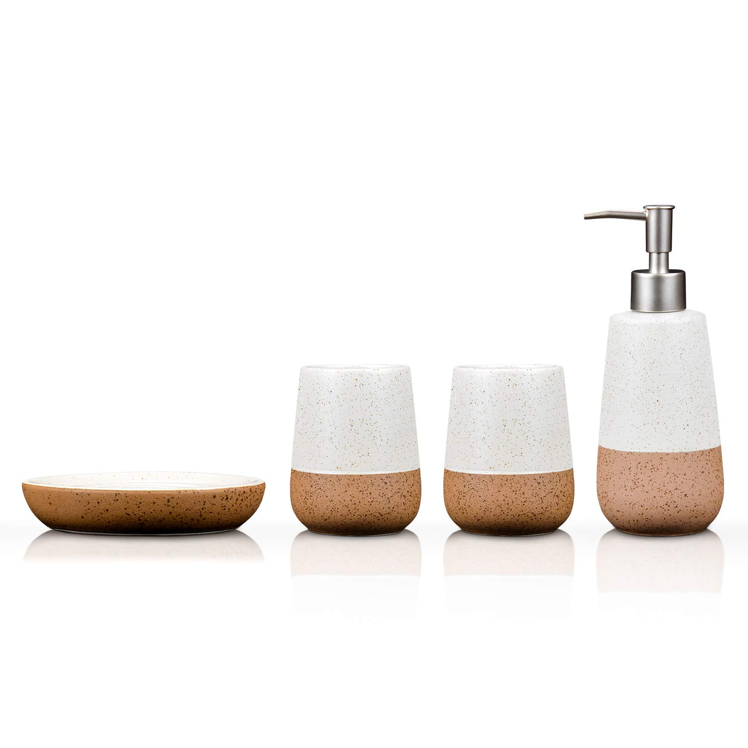 Fimary Ceramic Bathroom Accessories Set White-Including 4 Piece Bathroom Accessories Set Soap Dispenser, Toothbrush Holder, Tumbler, Soap Dish SJT-08