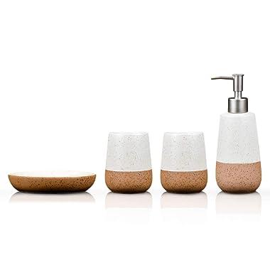 Fimary Bathroom Accessories Set White Ceramic - Including 4 Piece Bathroom Accessories Set Soap Dispenser,Toothbrush Holder,Tumbler,Soap Dish, Elegant Bathroom Set Collection