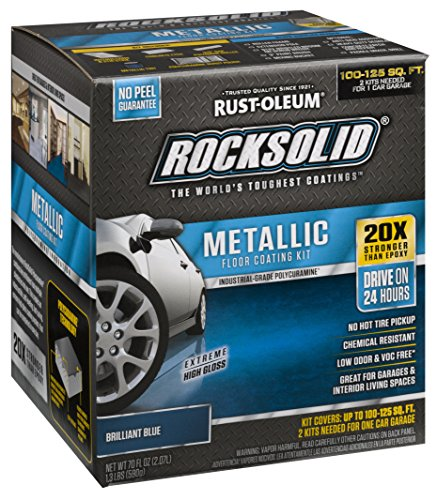 - Rust-Oleum 299745 Rock-Solid Metallic Garage Floor Coating Kit, Brilliant Blue