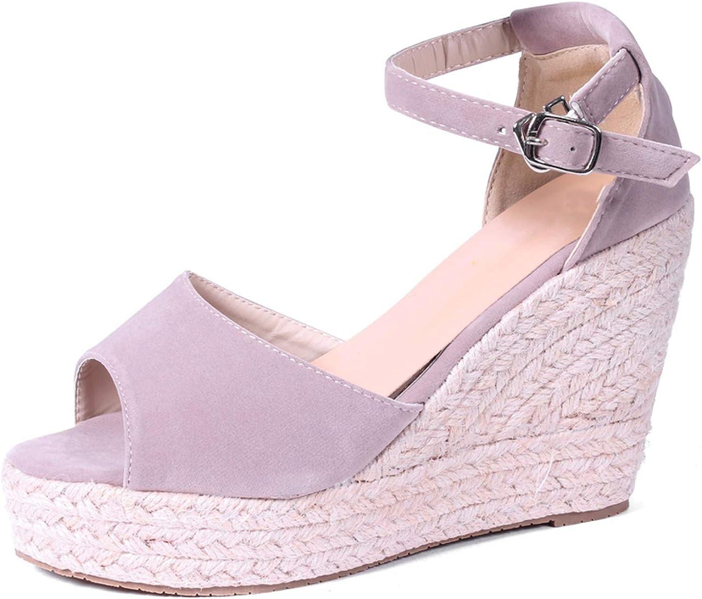 Women Sandals Ankle Strap Straw Platform Wedges Flock High Heels Cover Heel Sandal,Orange 10Cm,6