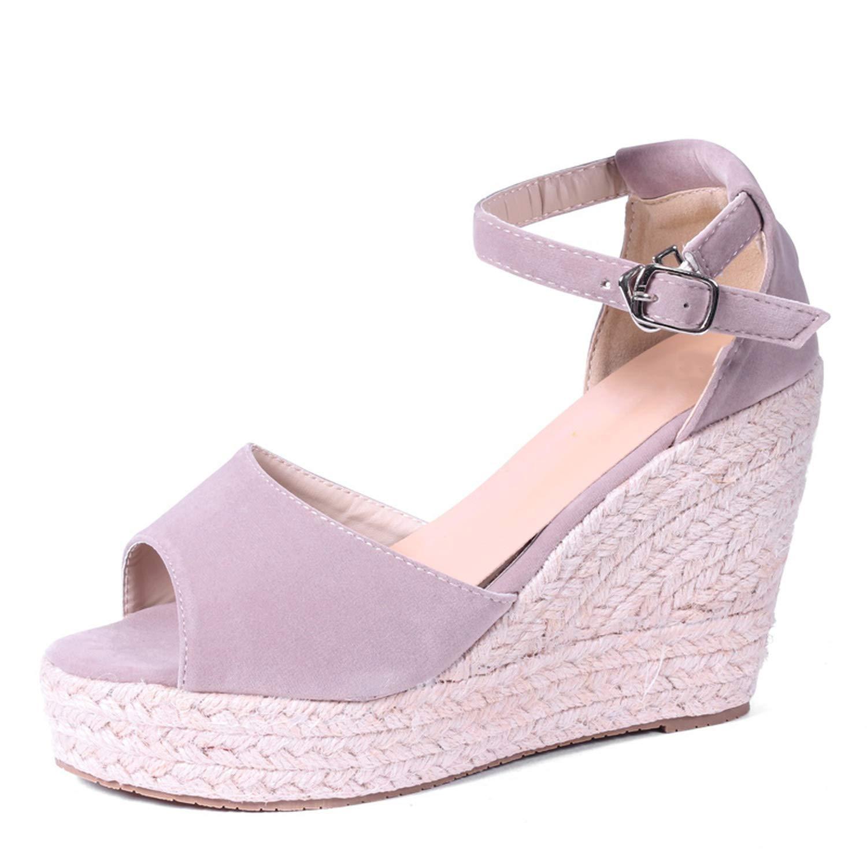 Women Sandals Ankle Strap Straw Platform Wedges Flock High Heels Cover Heel Sandal,Rose Red 10Cm,11