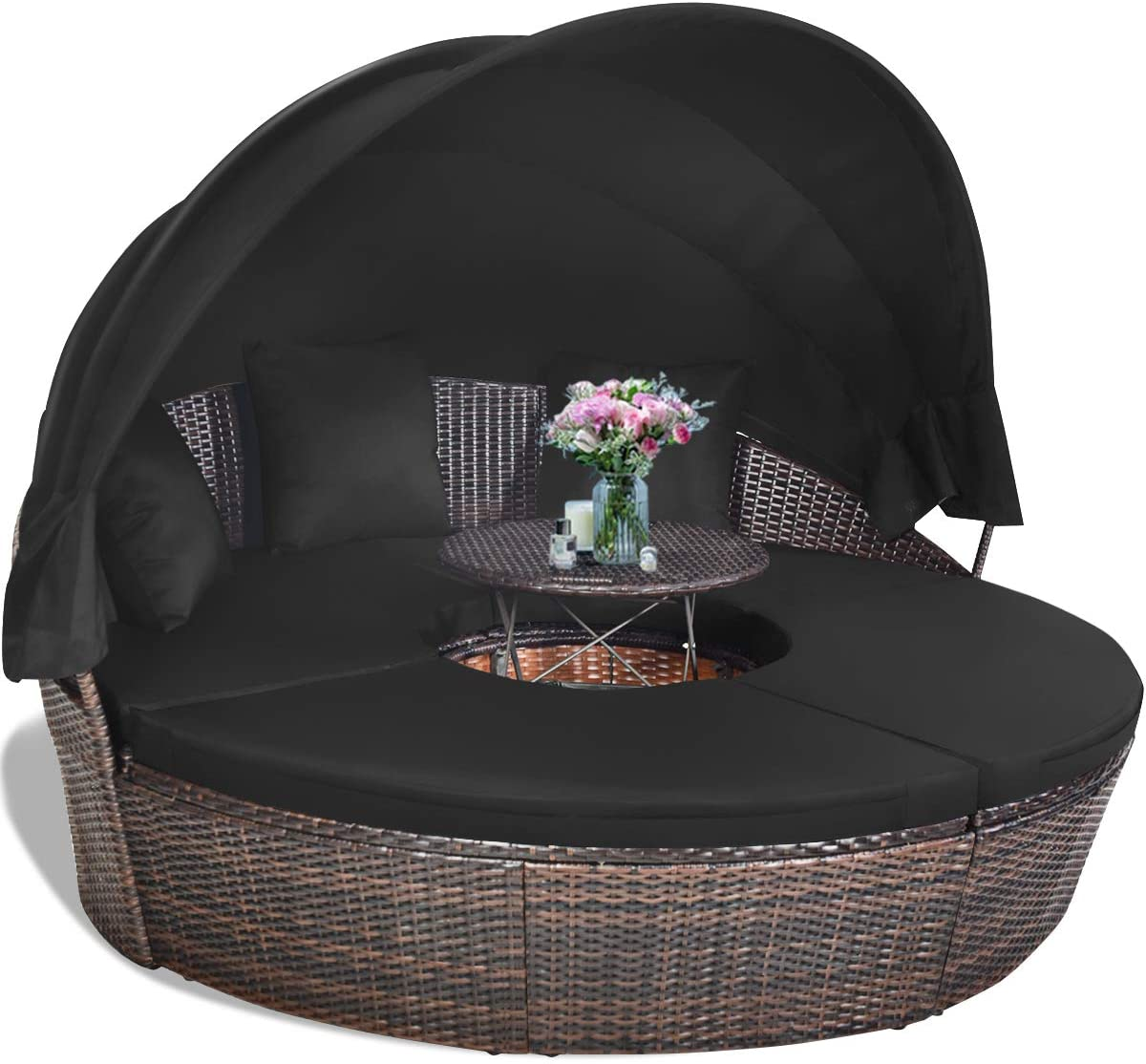 Tangkula Patio Round Daybed with Retractable Canopy, Outdoor Wicker Rattan Furniture Sets, Sectional Sofa Set w/Height Adjustable Coffee Table, Rattan Conversation Sets (Black)