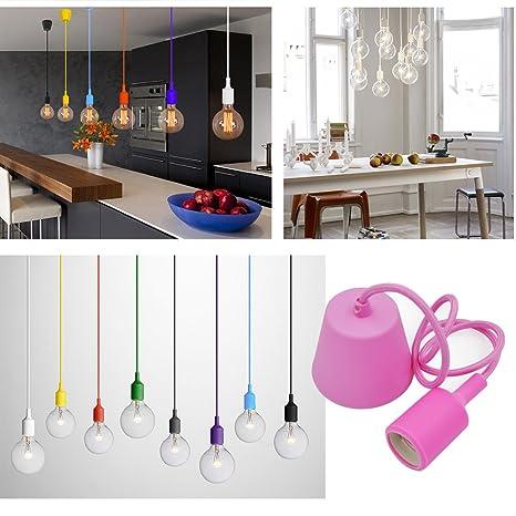 Princeway Colorido Silicona Lamparas Teco Colgantes Modernas- Portalamparas E27- Europea Estilo IKEA- Adecuado para Todos Bombillas E27- DIY Fácil ...