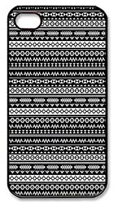 IMARTCASE iPhone 4S Case, Aztec Tribal Seamless Black And White Pattern PC Black Hard Case Cover for Apple iPhone 4S/5