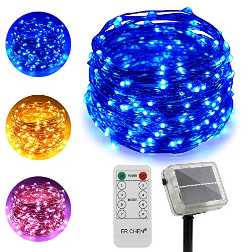 100 Blue Solar Powered Led Outdoor String Fairy Lights in US - 2