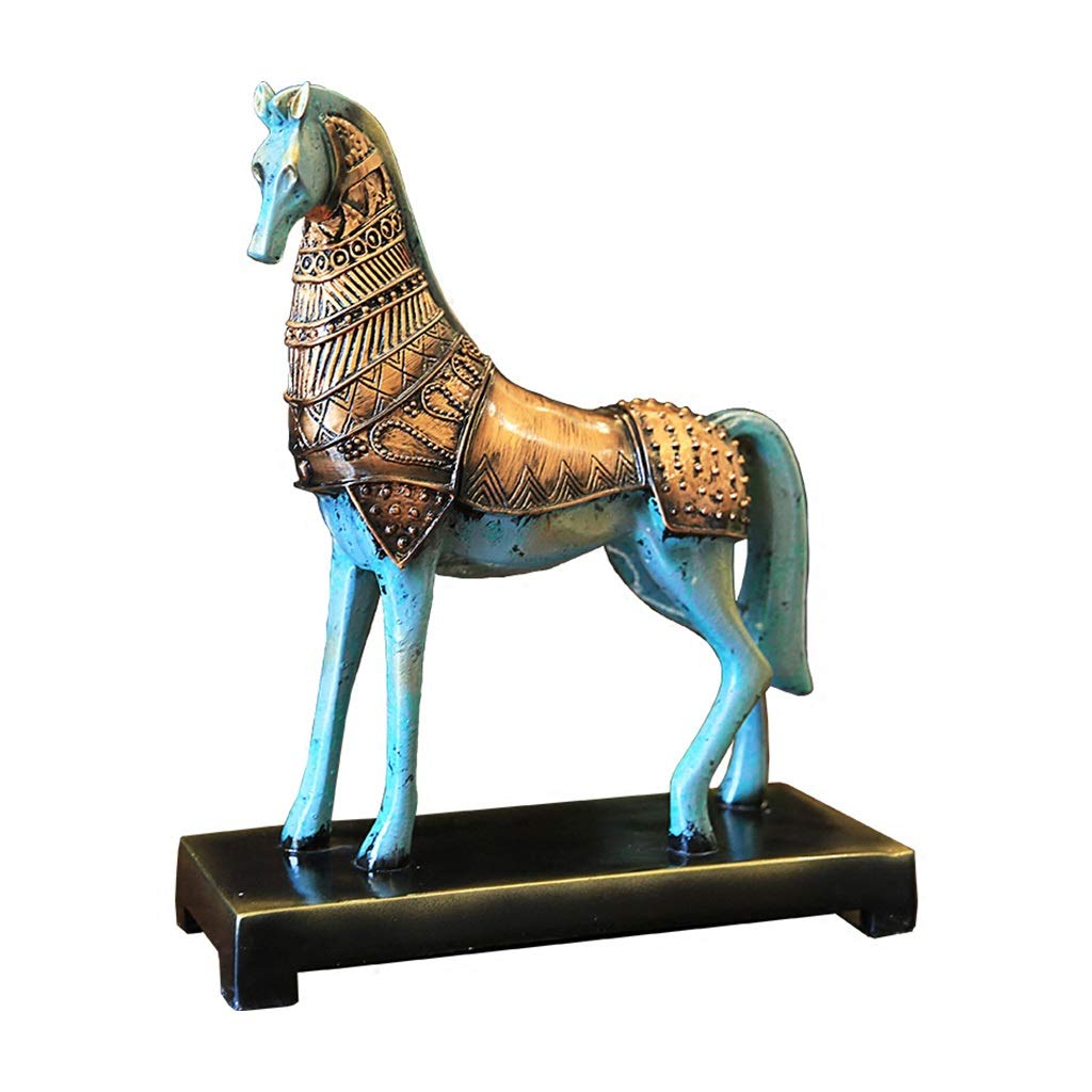 Decorations Home Decor Home Imitation Bronze Horse Resin Ornaments Living Room Study Porch Wine Cabinet Accessories (Color : Brown, Size : 29x11x37cm)