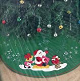 Bucilla Bear Pulling Santa Jeweled Stitchery Christmas Tree Skirt Kit ~ 35