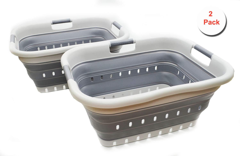 SAMMART Set of 2 Collapsible 3 Handled Plastic Laundry Basket - Foldable Pop Up Storage Container/Organizer - Portable Washing Tub - Space Saving Hamper/Basket (2, Grey/Dark Grey) by SAMMART
