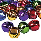 LARGE FESTIVE COLORFUL HOLIDAY CHRISTMAS JINGLE BELLS - 24 Pack