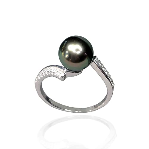 Black Pearl and Sterling Silver Ring