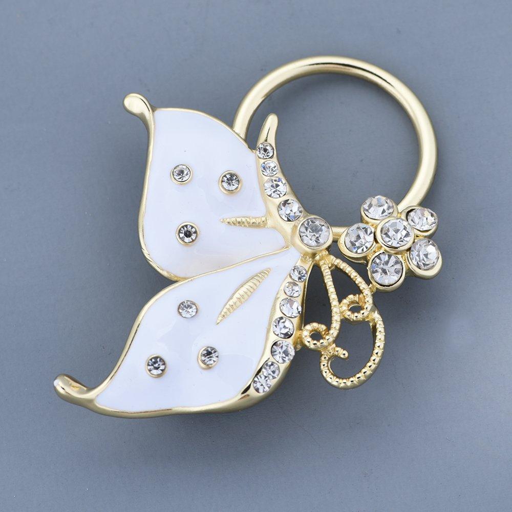 GUANDU Enamel Butterfly Crystal Magnetic Eyeglass Holder for Women Teen Girls (Gold) by GUANDU (Image #3)