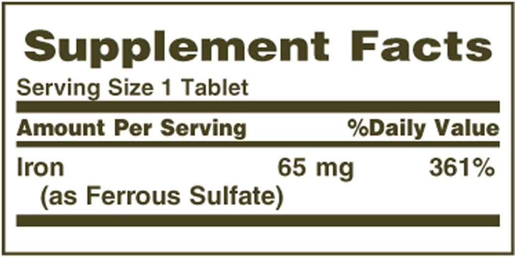 Nature's Bounty Iron 65 Mg.(325 mg Ferrous Sulfate), 100 Tablets, (Pack of 2): Health & Personal Care