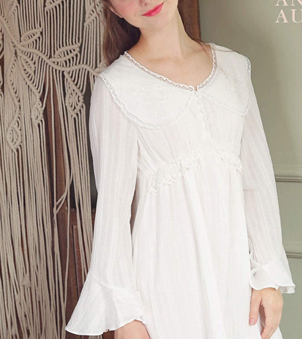 Vintage Nightgowns, Pajamas, Baby Dolls, Robes Womens Retro V Neck Victorian Nightgown Vintage Victorian Sleep Dress Pajamas $43.69 AT vintagedancer.com