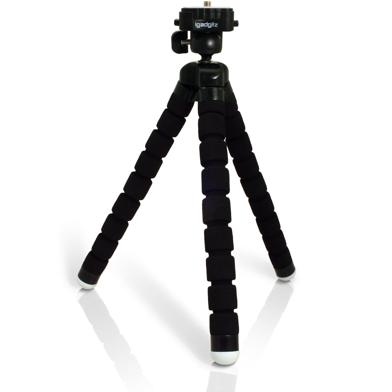 iGadgitz Lightweight Large Universal Flexible Foam Mini Tripod for Sony DSC-W800, DSC-W810, DSC-W830, DSC-WX220, DSC-WX350, DSC-WX500 with Quick Release Plate - Black