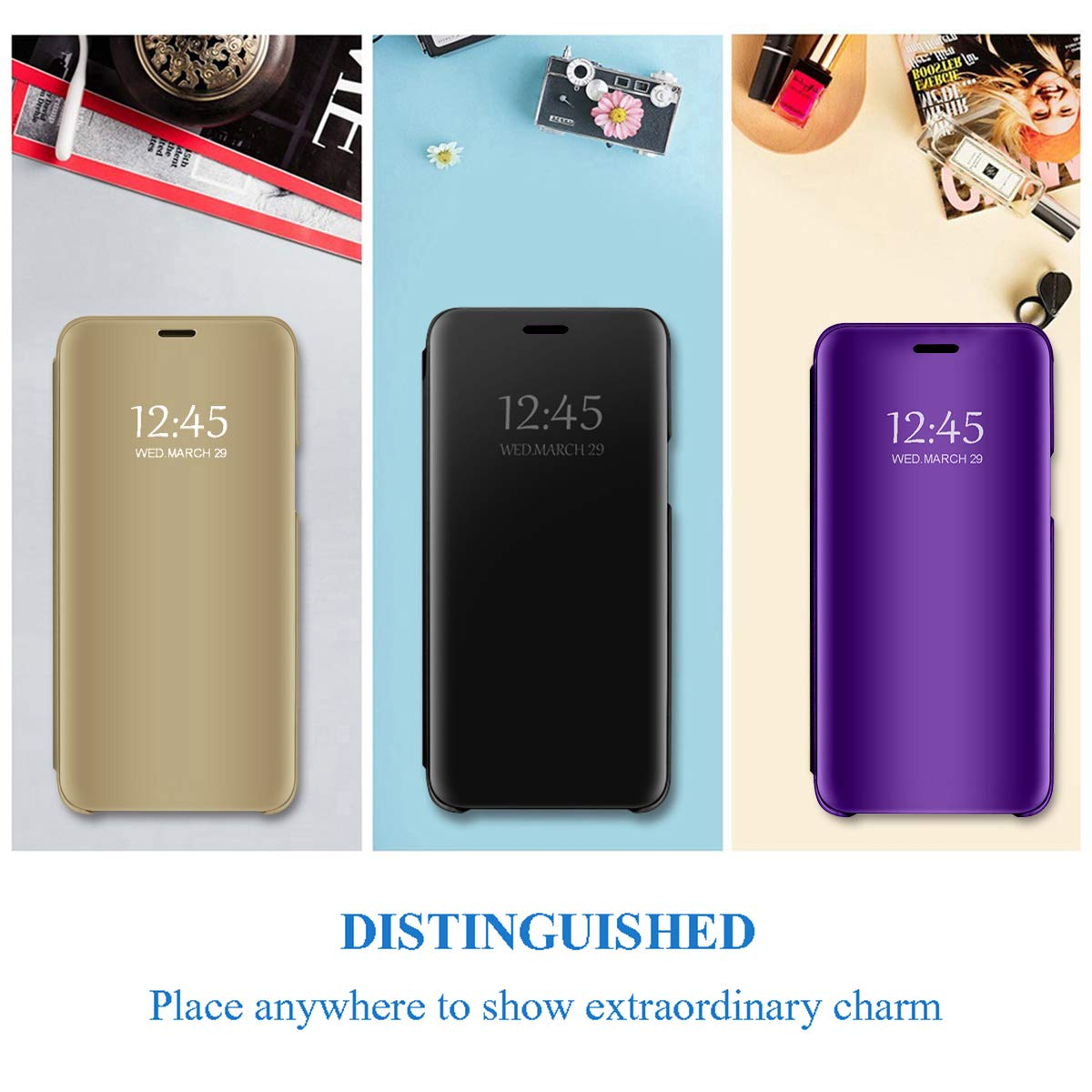 for Samsung Galaxy S6 Edge Plus/Note 5 Edge case Clear View Cover Slim Mirror Plating PC Full Body Protective Standing Cover
