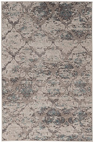 (Linon Vintage Collection Trellis Synthetic Rugs, 2' x 3', Gray)