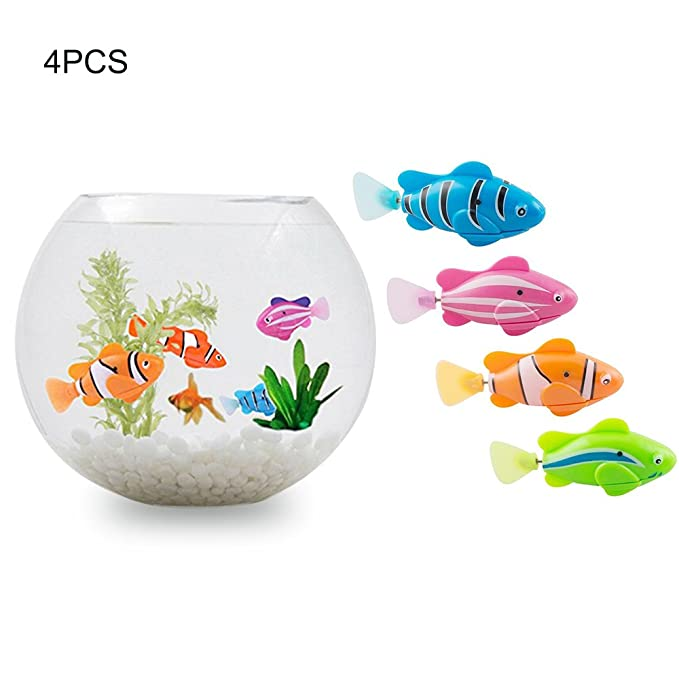 Amazon.es: Risingmed 4ps - Robot de natación para niños con diseño de pez Activado en Agua, Juguete electrónico mágico, Regalo para niños, ...