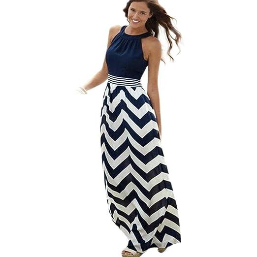 1cf00743d0 OOEOO Women Bohemian Long Maxi Boho Evening Striped Beach Dresses Halter  Sundress (Blue