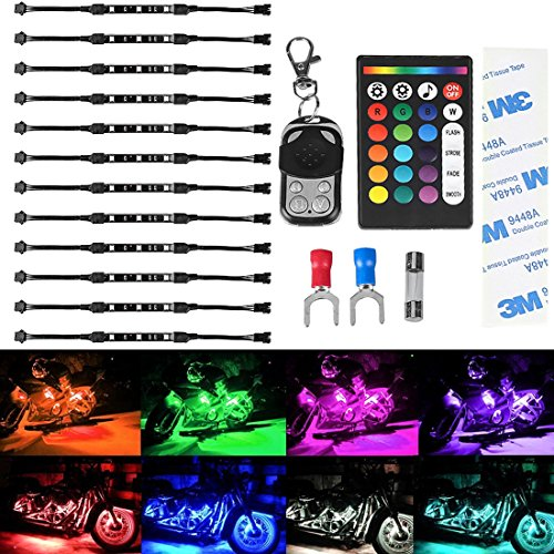 12Pcs Led Light Kits Multi-Color Wireless IR/RF Remote Controller Motorcycle Atmosphere Lamp RGB Flexible Strips Ground Effect Light for Motorcycle-NEW - Light Night Scooter Kit
