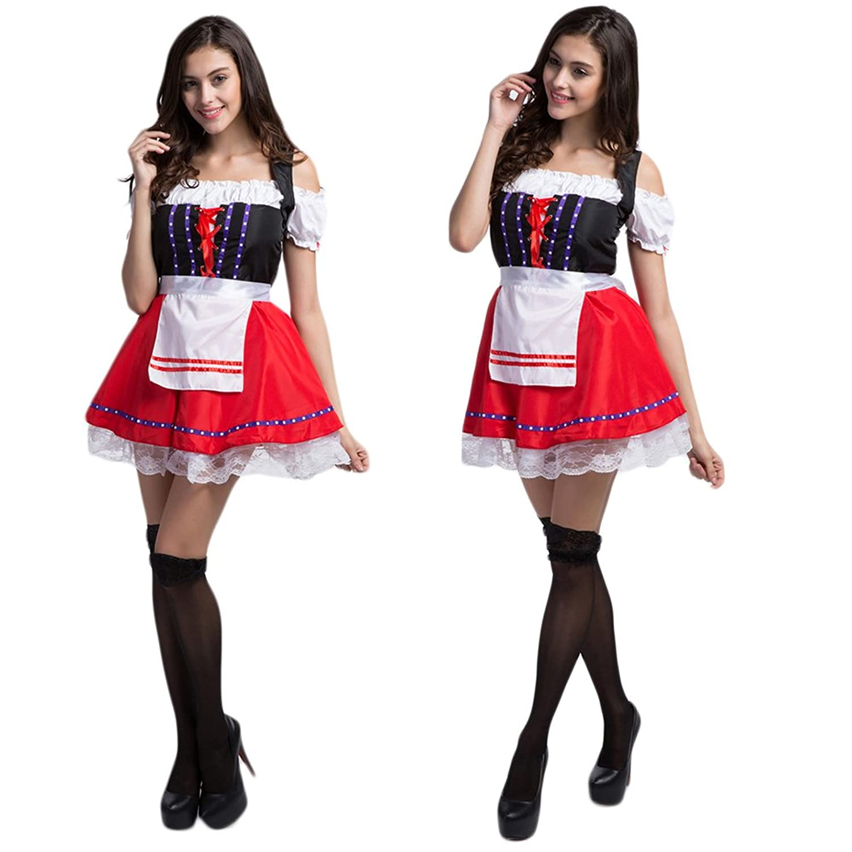 LianLe Oktoberfest Trachtenkleid Dirndl Set Kostüm für Damen mit Bluse und Schürze Schwarz Rot und Weiß