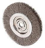 10'' Crimped Wire Wheel Brush, Arbor Hole Mounting, 0.014'' Wire Dia, 2'' Bristle Trim Length, 1 EA