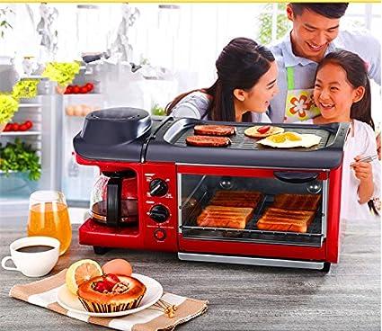 MXBAOHENG máquina de desayuno, Multifunción, 3 en 1, tostadora, sartén y cafetera
