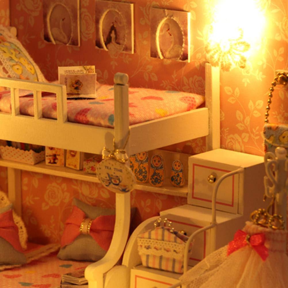 Morningtime DIY Miniatura Casa De Mu/ñecas con Muebles Realista 3D Casa De Madera Artesanal con Luz Casas De Mu/ñecas Y Accesorios para Regalo de San Valent/ín Dollhouse Kit