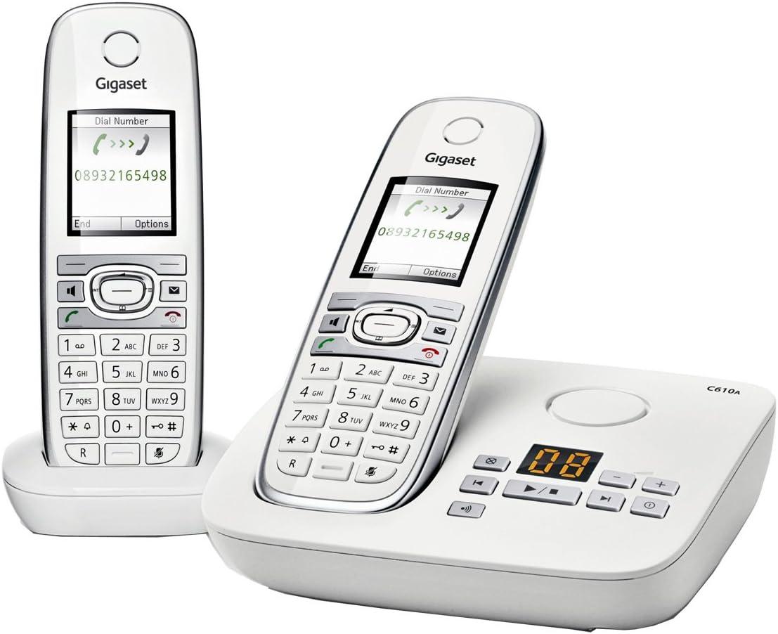 Gigaset C610A Duo - 2 teléfonos fijos inalámbricos DECT con contestador, color blanco [Importado de Francia]: Amazon.es: Electrónica