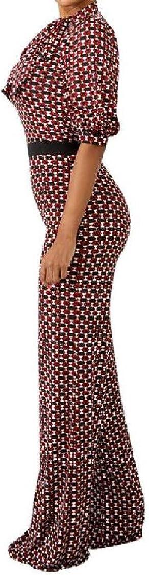 CrazyDayWomen Zipper Half Sleeve Hi-Waist Geometric Print V-Neck Jumpsuits