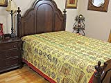 NovaHaat Artisan Embroidered India Bedding Cotton - Designer Handcrafted Tribal Style Bedspread Tapestry ~ Queen 108 Inch X 90 Inch