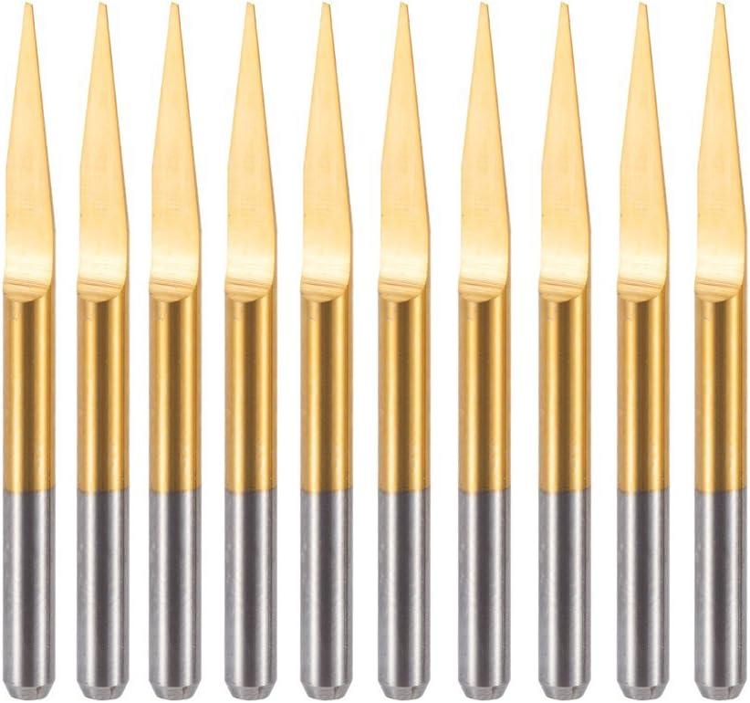 HUHAO 20 degree V-shape Engraver Titanium Coated Flat Bottom Cutting Tool PCB Engraving Bits For PCB Wood Acrylic Aluminum 10PCS
