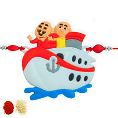 Dms Retail Motu Patlu On Boat Rakhi For Brother With Roli Chawal