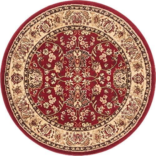 Unique Loom Kashan Collection Traditional Floral Overall Pattern with Border Burgundy Round Rug 4 0 x 4 0