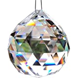MINGZE 60mm Large Clear Glass Crystal Ball Prism Pendant, Chandelier Crystal Parts, Wedding Decoration, Party Favor, Party Table Décor