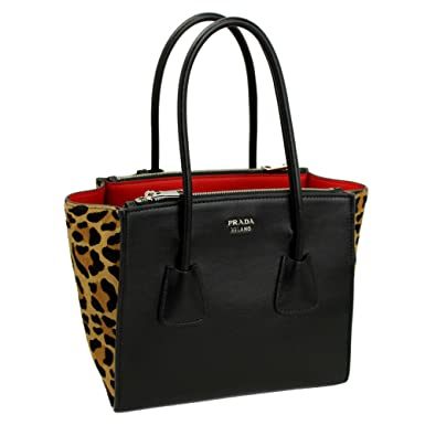 163e31214aa6 Amazon.com: Prada Black Leather/Leopard Tote Bag With Shoulder Strap  1bg625: Clothing
